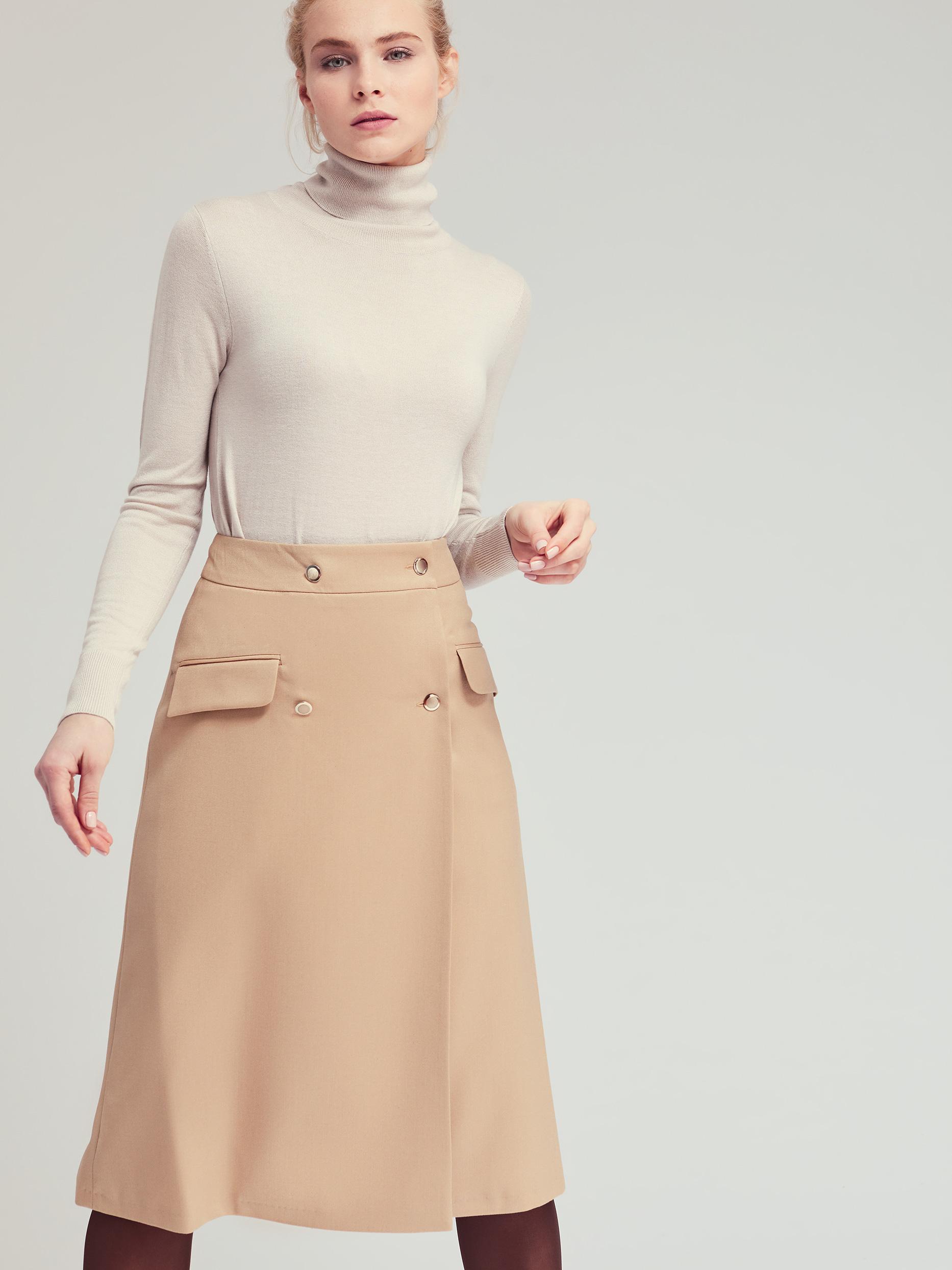 Двубортная юбка-миди фото