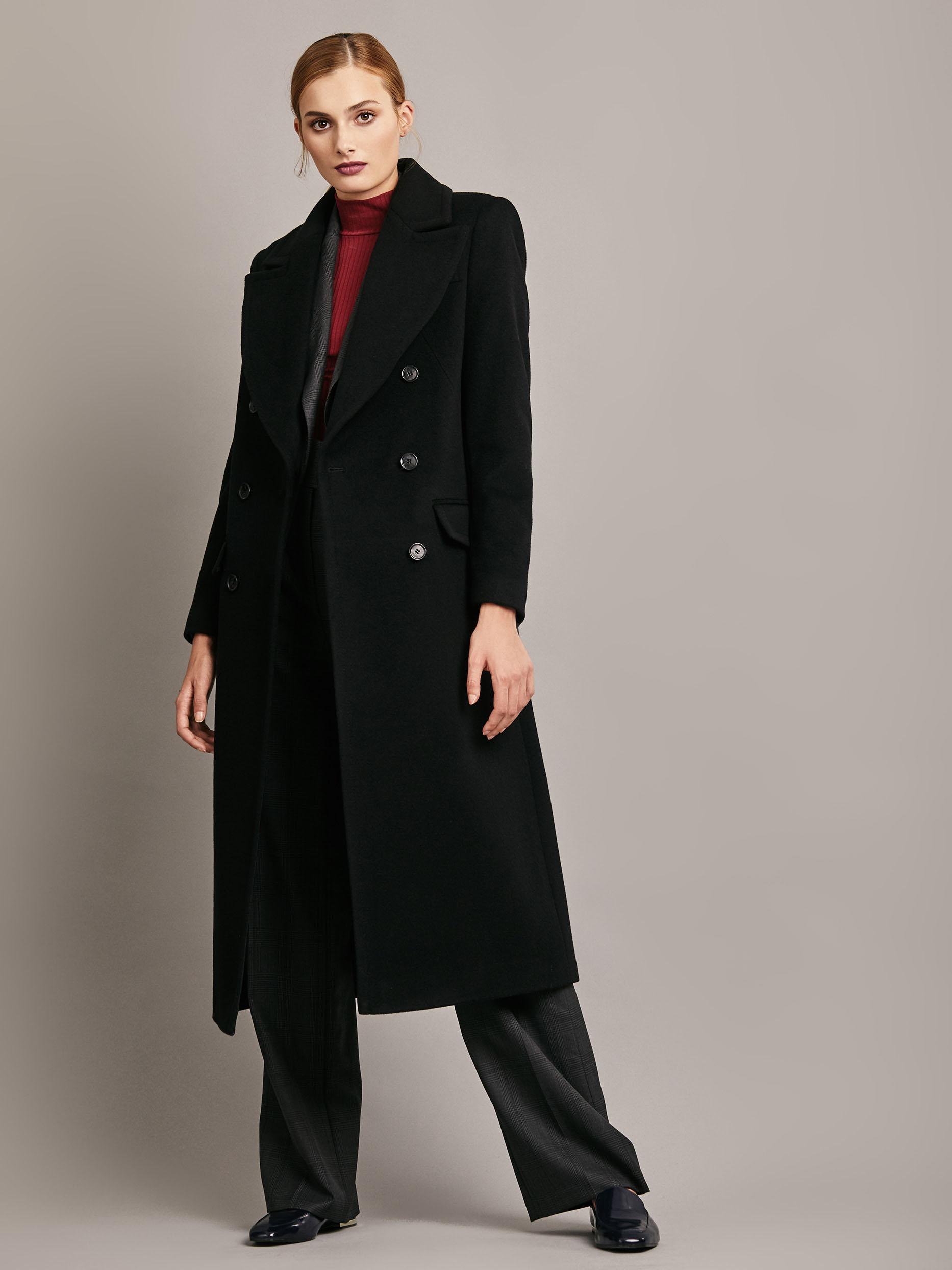 Длинное шерстяное пальто фото