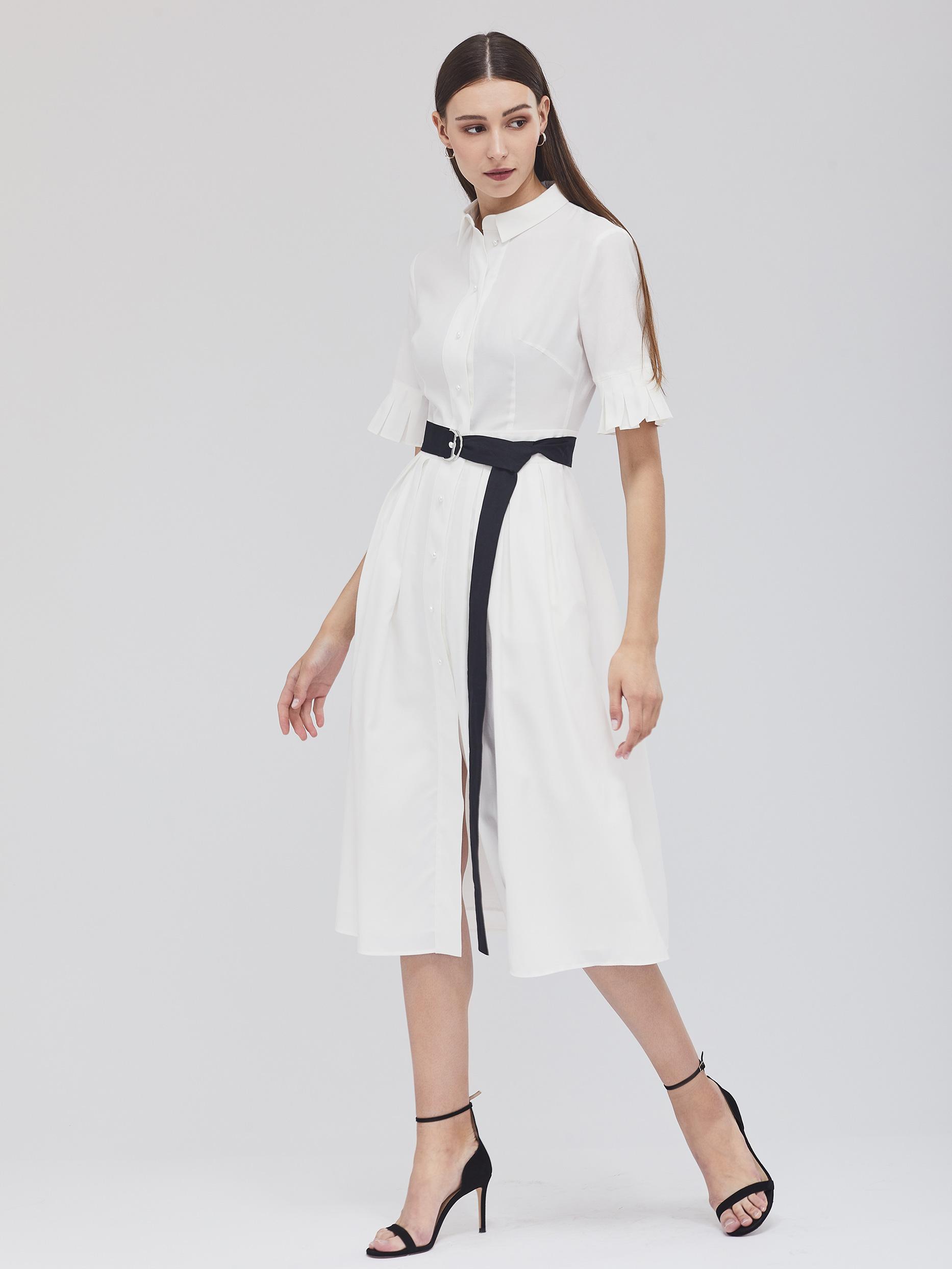 Приталенное платье с поясом фото