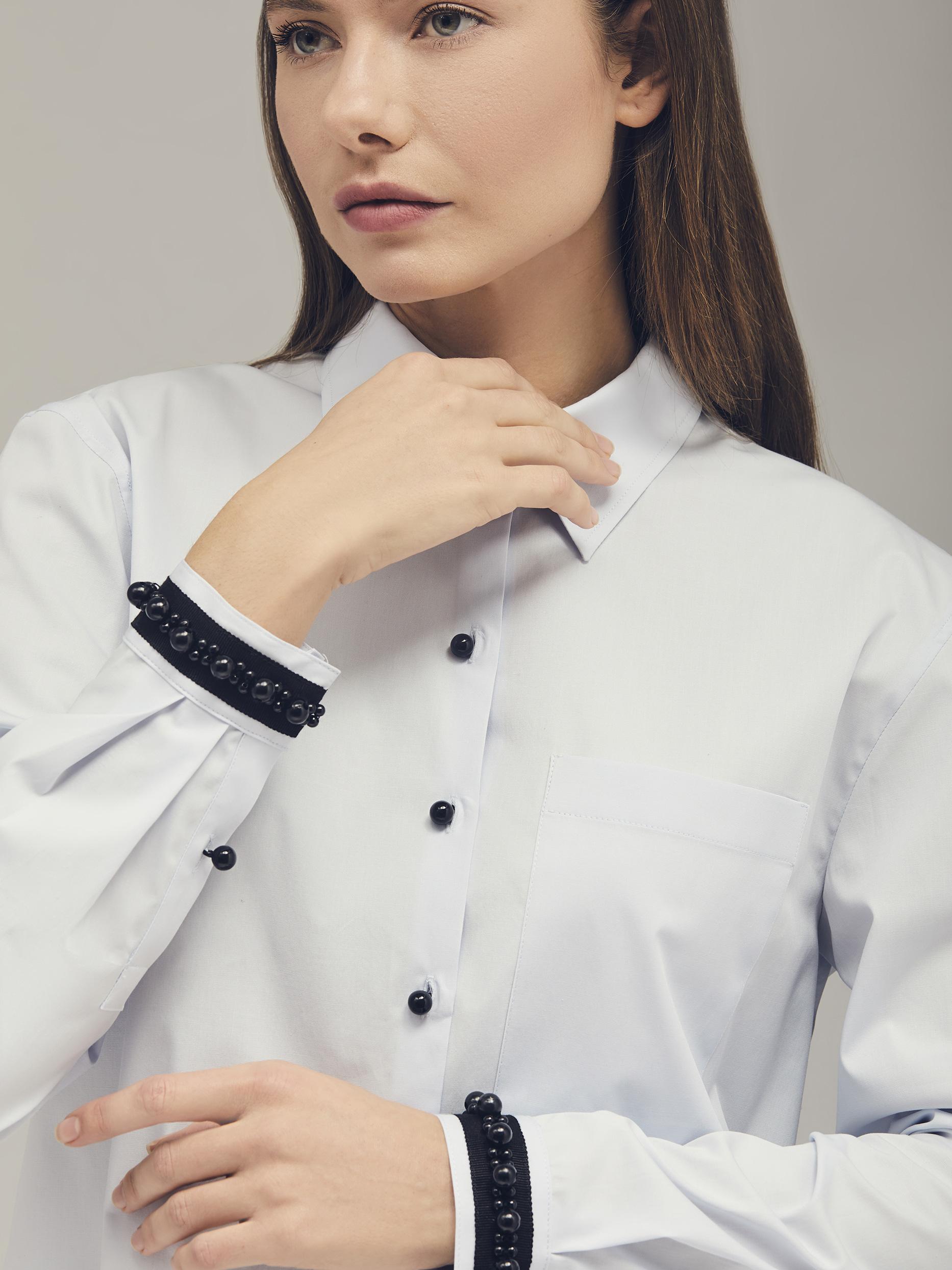 Хлопковая рубашка с бусинами фото