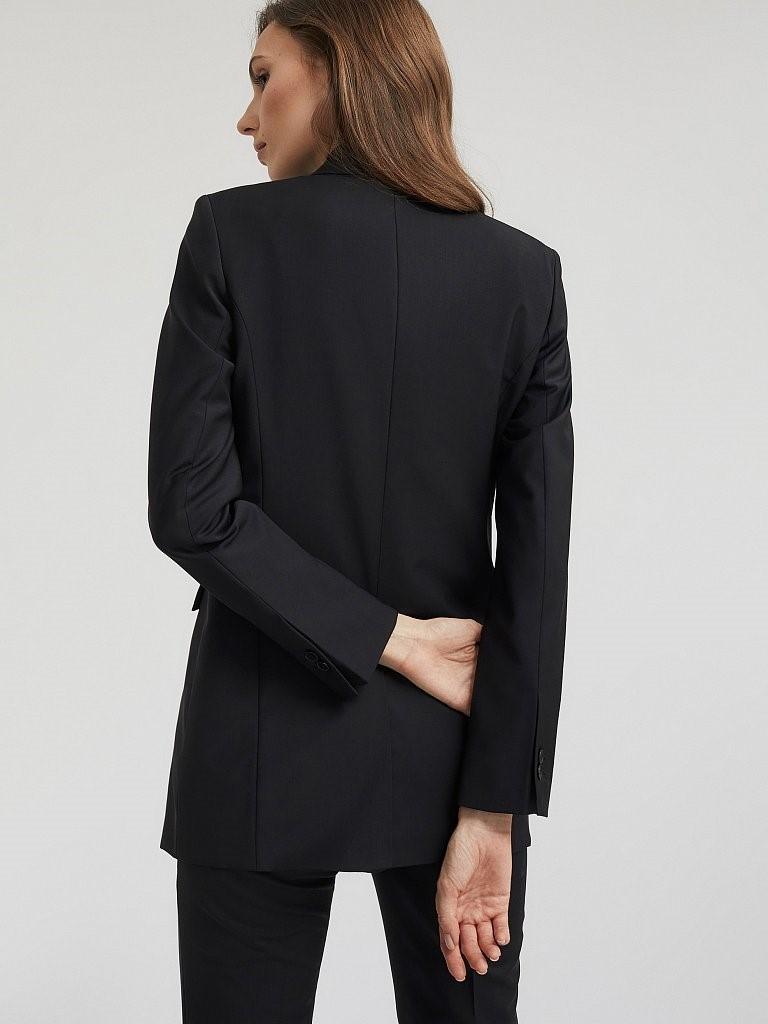 Двубортный черный жакет Charuel из костюмной шерсти
