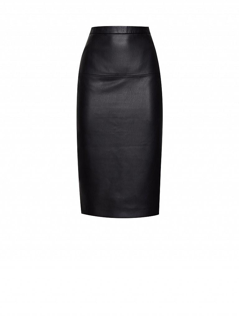 Прямая черная юбка Charuel из искусственной кожи