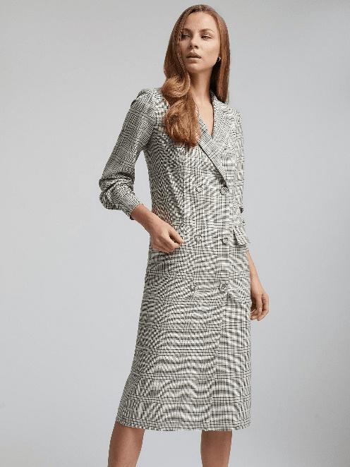 Двубортное платье Charuel в клетку с лацканами